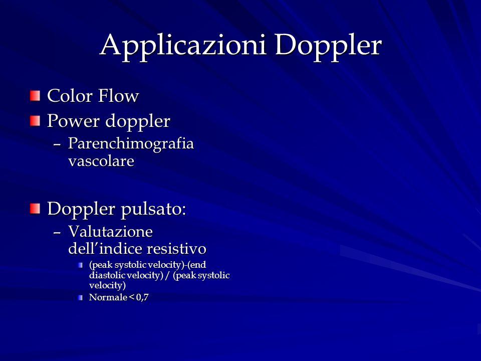 Applicazioni Doppler Color Flow Power doppler –Parenchimografia vascolare Doppler pulsato: –Valutazione dellindice resistivo (peak systolic velocity)-