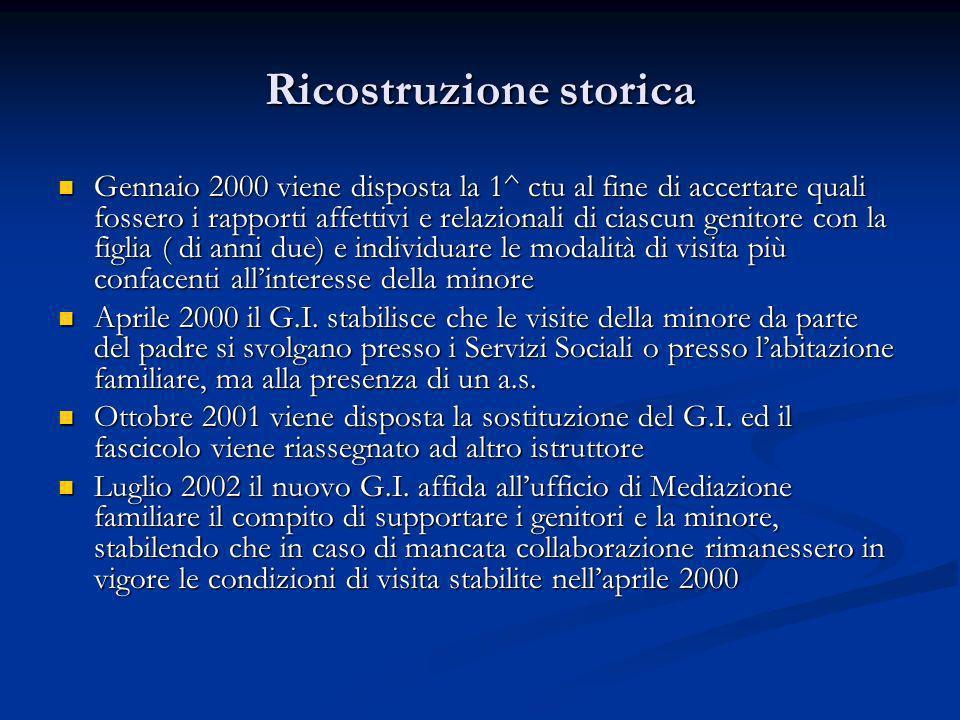 Ricostruzione storica Gennaio 2000 viene disposta la 1^ ctu al fine di accertare quali fossero i rapporti affettivi e relazionali di ciascun genitore