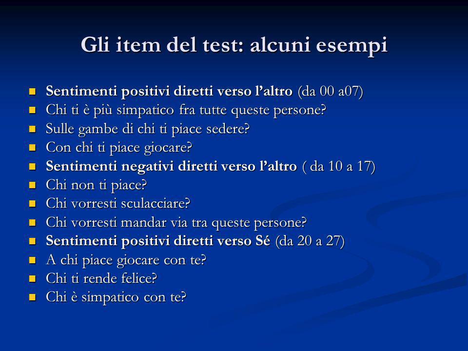 Gli item del test: alcuni esempi Sentimenti positivi diretti verso laltro (da 00 a07) Sentimenti positivi diretti verso laltro (da 00 a07) Chi ti è pi