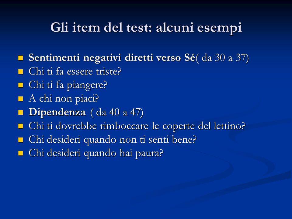 Gli item del test: alcuni esempi Sentimenti negativi diretti verso Sé( da 30 a 37) Sentimenti negativi diretti verso Sé( da 30 a 37) Chi ti fa essere