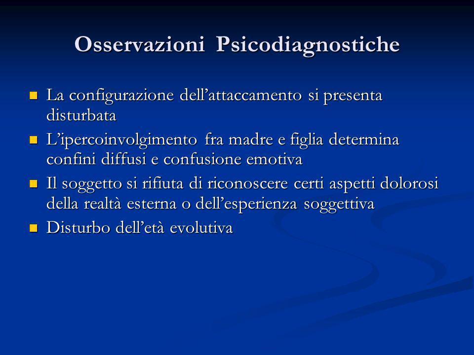 Osservazioni Psicodiagnostiche La configurazione dellattaccamento si presenta disturbata La configurazione dellattaccamento si presenta disturbata Lip