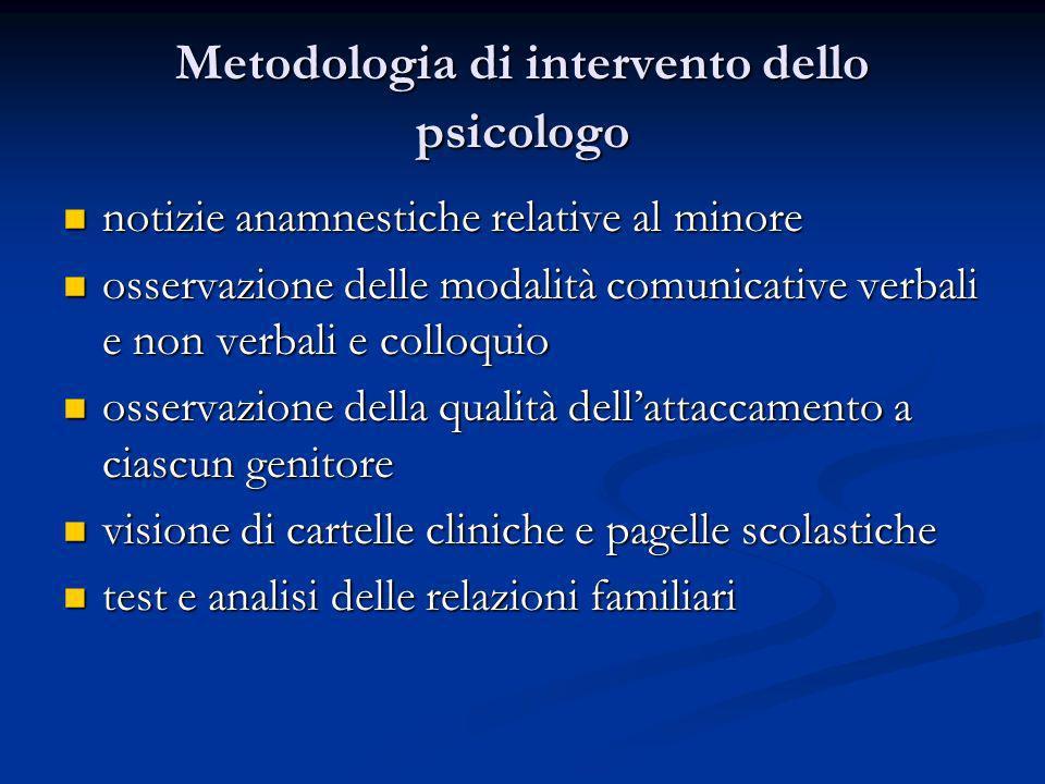 Metodologia di intervento dello psicologo notizie anamnestiche relative al minore notizie anamnestiche relative al minore osservazione delle modalità