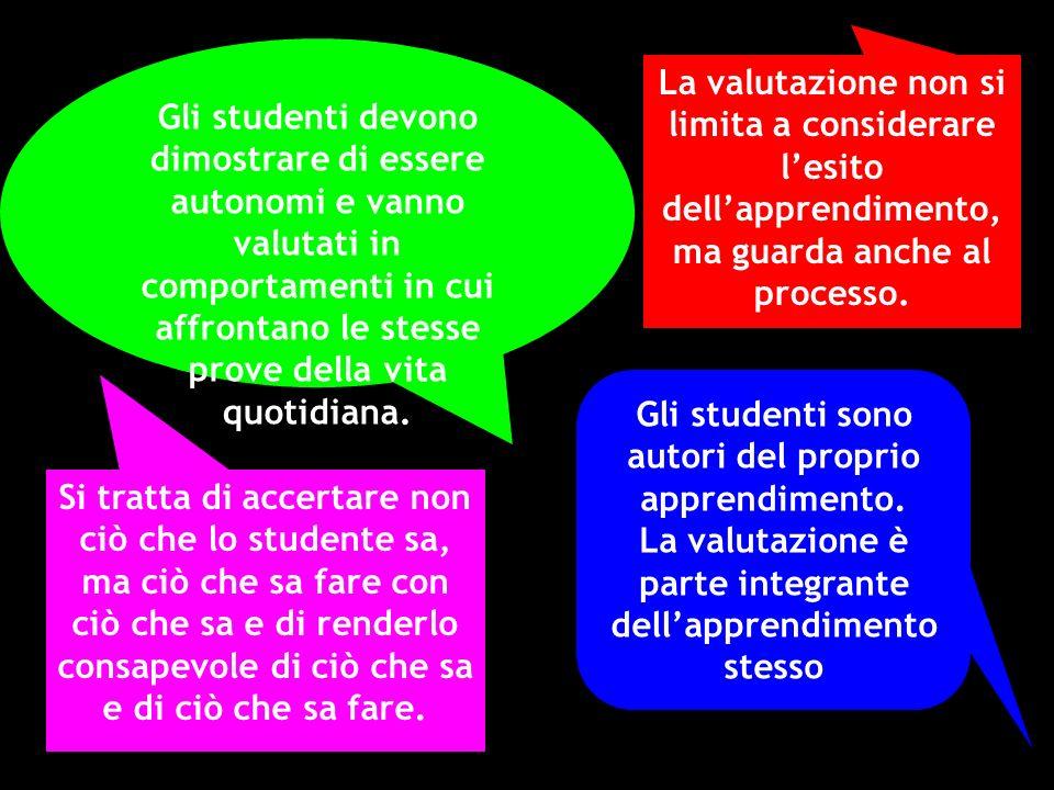 Gli studenti devono dimostrare di essere autonomi e vanno valutati in comportamenti in cui affrontano le stesse prove della vita quotidiana. La valuta