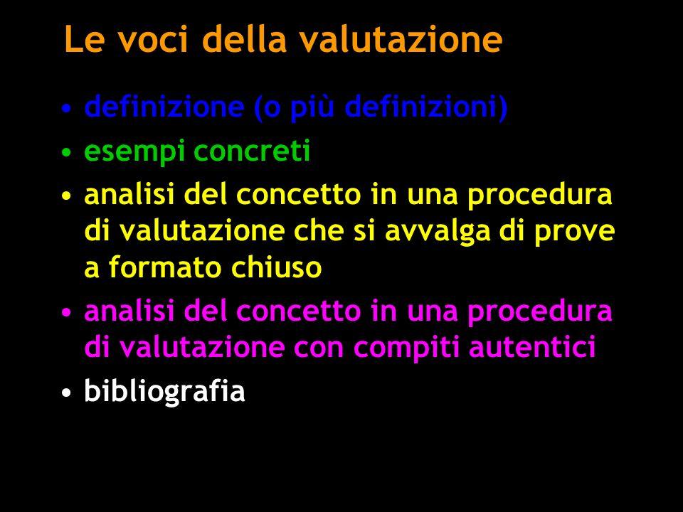 Le voci della valutazione definizione (o più definizioni) esempi concreti analisi del concetto in una procedura di valutazione che si avvalga di prove