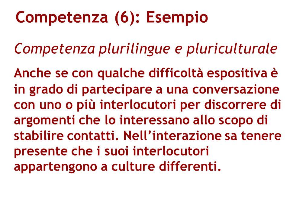 Competenza (6): Esempio Competenza plurilingue e pluriculturale Anche se con qualche difficoltà espositiva è in grado di partecipare a una conversazio