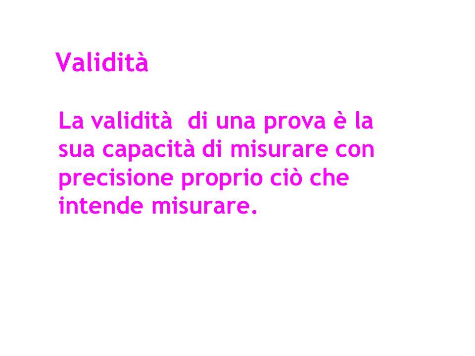 Validità La validità di una prova è la sua capacità di misurare con precisione proprio ciò che intende misurare.