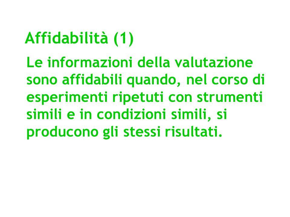 Affidabilità (1) Le informazioni della valutazione sono affidabili quando, nel corso di esperimenti ripetuti con strumenti simili e in condizioni simi