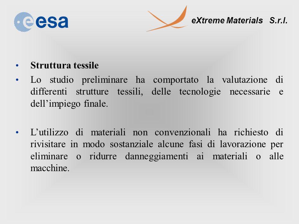 eXtreme Materials S.r.l. Struttura tessile Lo studio preliminare ha comportato la valutazione di differenti strutture tessili, delle tecnologie necess