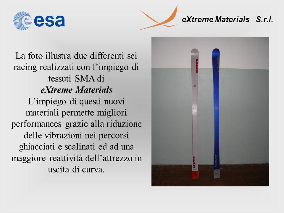 eXtreme Materials S.r.l. La foto illustra due differenti sci racing realizzati con limpiego di tessuti SMA di eXtreme Materials Limpiego di questi nuo