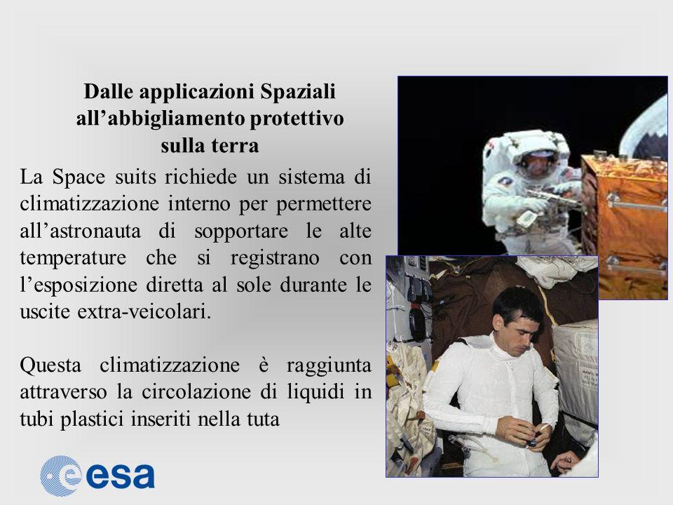 Dalle applicazioni Spaziali allabbigliamento protettivo sulla terra La Space suits richiede un sistema di climatizzazione interno per permettere allas