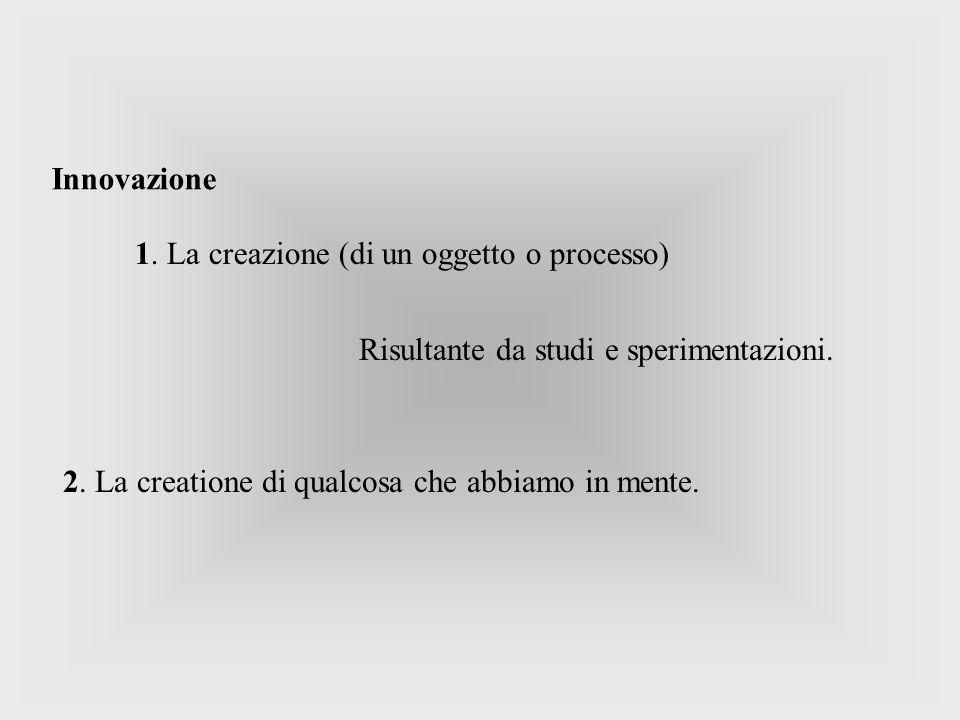 1. La creazione (di un oggetto o processo) Innovazione 2. La creatione di qualcosa che abbiamo in mente. Risultante da studi e sperimentazioni.