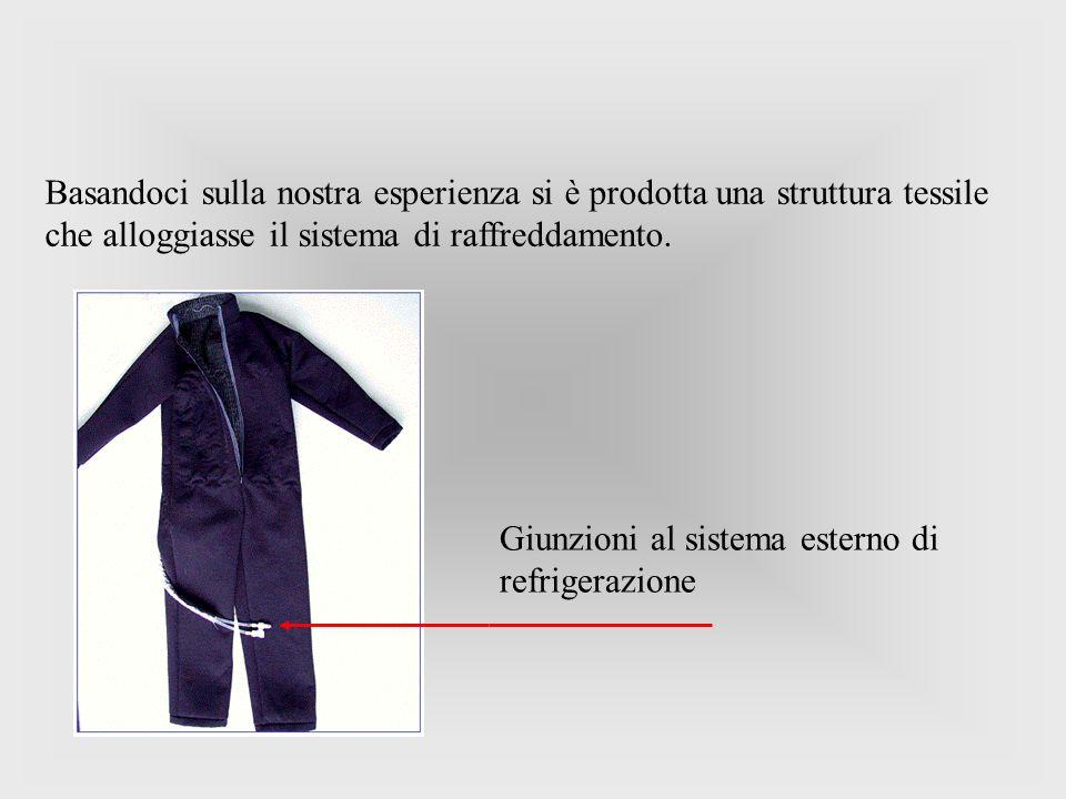 Basandoci sulla nostra esperienza si è prodotta una struttura tessile che alloggiasse il sistema di raffreddamento. Giunzioni al sistema esterno di re