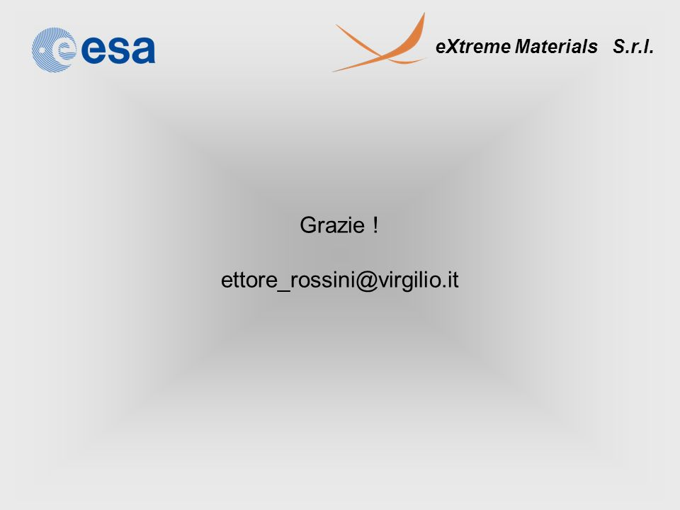 eXtreme Materials S.r.l. Grazie ! ettore_rossini@virgilio.it