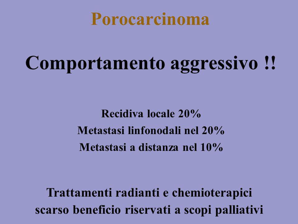 Porocarcinoma Comportamento aggressivo !! Recidiva locale 20% Metastasi linfonodali nel 20% Metastasi a distanza nel 10% Trattamenti radianti e chemio