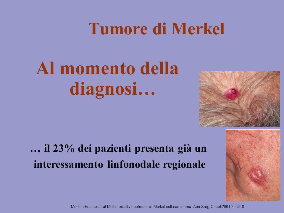 Tumore di Merkel Al momento della diagnosi… … il 23% dei pazienti presenta già un interessamento linfonodale regionale Medina-Franco et al.Multimodali