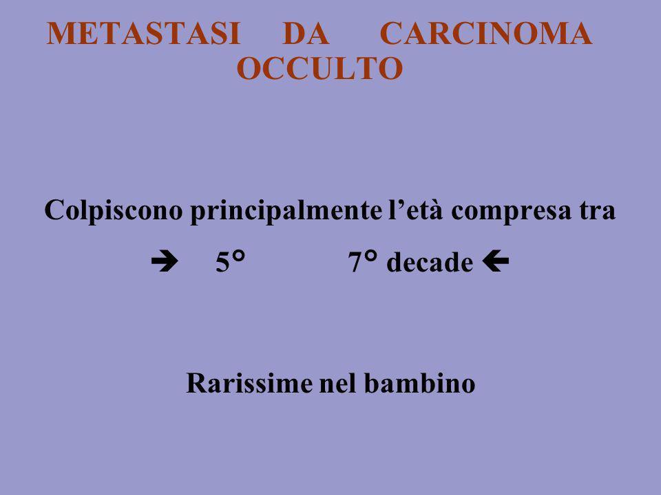METASTASI DA CARCINOMA OCCULTO Colpiscono principalmente letà compresa tra 5° 7° decade Rarissime nel bambino