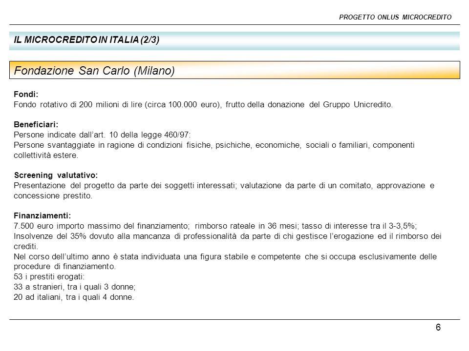 7 PROGETTO ONLUS MICROCREDITO IL MICROCREDITO IN ITALIA (3/3) Fondi: Fondo di garanzia di 1.600.000 euro erogati dalla Sanpaolo IMI; 400.000 euro erogati dalla stessa banca per le spese generali.
