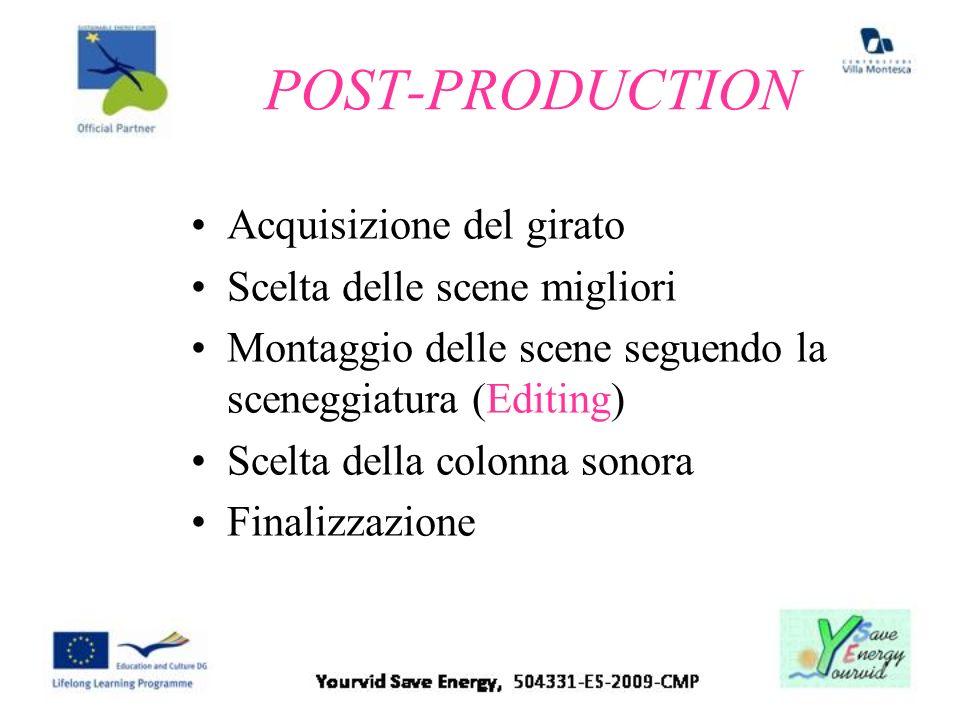 POST-PRODUCTION Acquisizione del girato Scelta delle scene migliori Montaggio delle scene seguendo la sceneggiatura (Editing) Scelta della colonna son