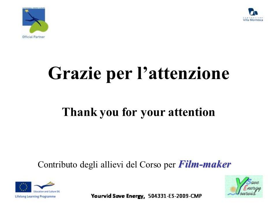 Grazie per lattenzione Film-maker Contributo degli allievi del Corso per Film-maker Thank you for your attention