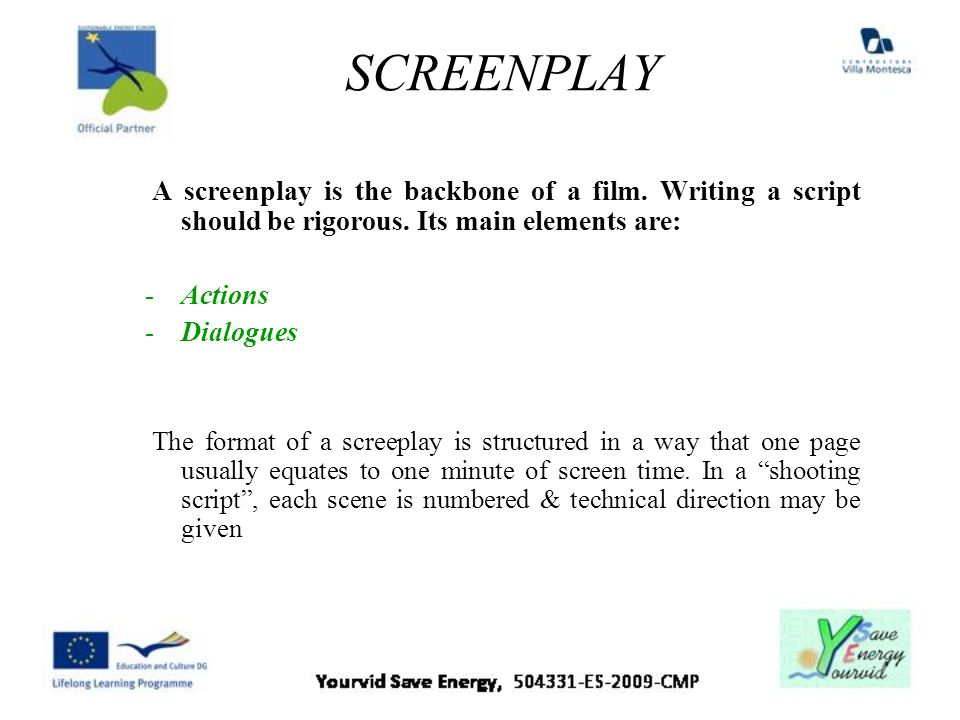 SCREENPLAY A screenplay is the backbone of a film. Writing a script should be rigorous. Its main elements are: -Actions -Dialogues The format of a scr