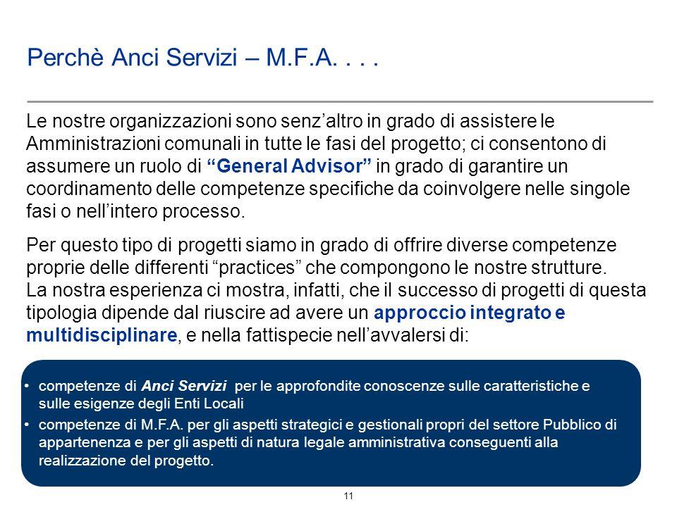 11 Perchè Anci Servizi – M.F.A.... Le nostre organizzazioni sono senzaltro in grado di assistere le Amministrazioni comunali in tutte le fasi del prog