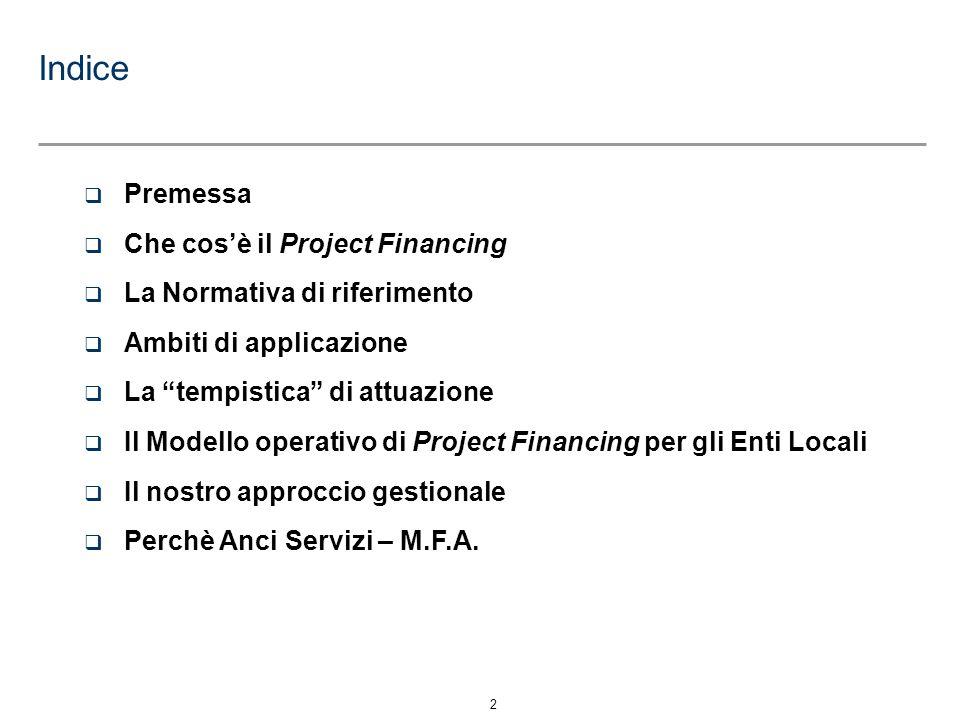 2 q Premessa q Che cosè il Project Financing q La Normativa di riferimento q Ambiti di applicazione q La tempistica di attuazione q Il Modello operati