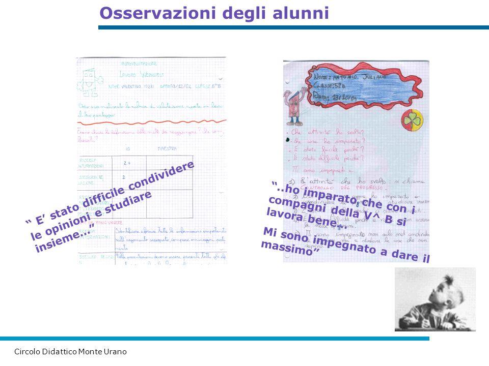 Osservazioni degli alunni Circolo Didattico Monte Urano E s t a t o d i f f i c i l e c o n d i v i d e r e l e o p i n i o n i e s t u d i a r e i n