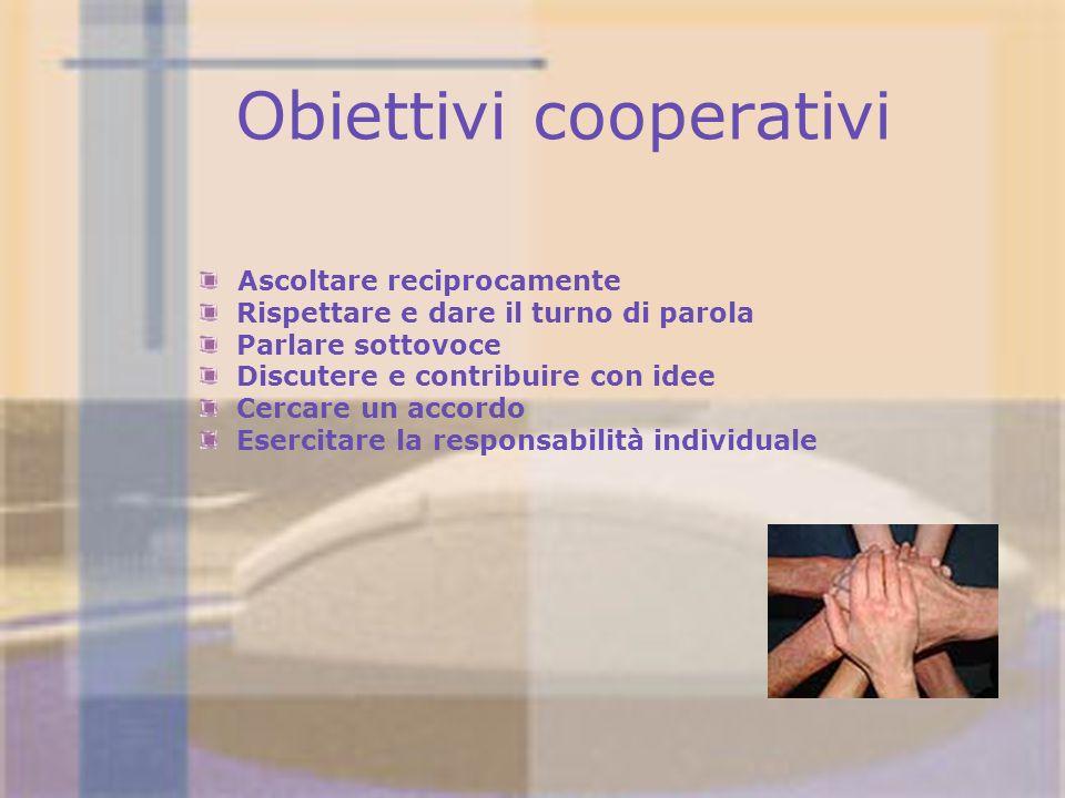 Obiettivi cooperativi Ascoltare reciprocamente Rispettare e dare il turno di parola Parlare sottovoce Discutere e contribuire con idee Cercare un acco