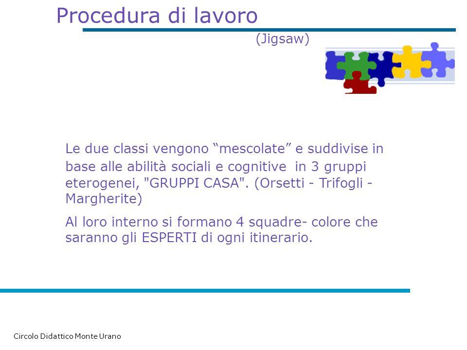 Procedura di lavoro (Jigsaw) Circolo Didattico Monte Urano Le due classi vengono mescolate e suddivise in base alle abilità sociali e cognitive i n 3