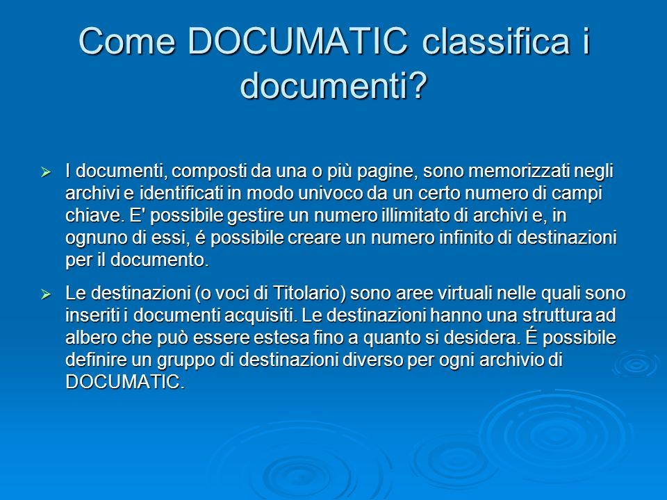 Come DOCUMATIC classifica i documenti? I documenti, composti da una o più pagine, sono memorizzati negli archivi e identificati in modo univoco da un