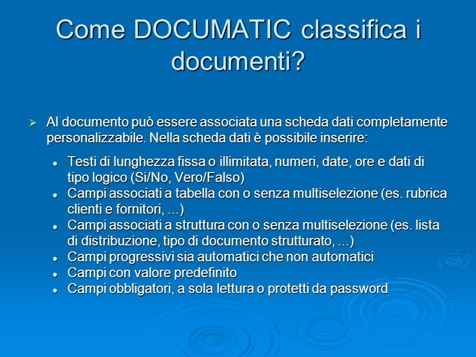 Come DOCUMATIC classifica i documenti? Al documento può essere associata una scheda dati completamente personalizzabile. Nella scheda dati è possibile