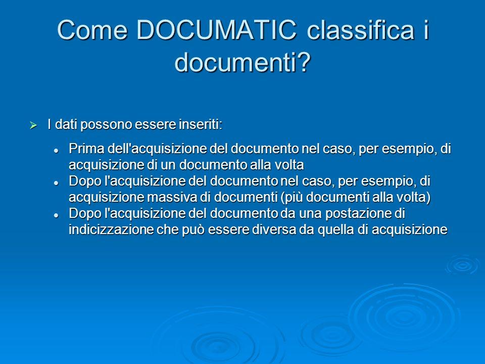 Come DOCUMATIC classifica i documenti? I dati possono essere inseriti: I dati possono essere inseriti: Prima dell'acquisizione del documento nel caso,