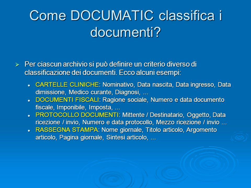 Come DOCUMATIC classifica i documenti? Per ciascun archivio si può definire un criterio diverso di classificazione dei documenti. Ecco alcuni esempi: