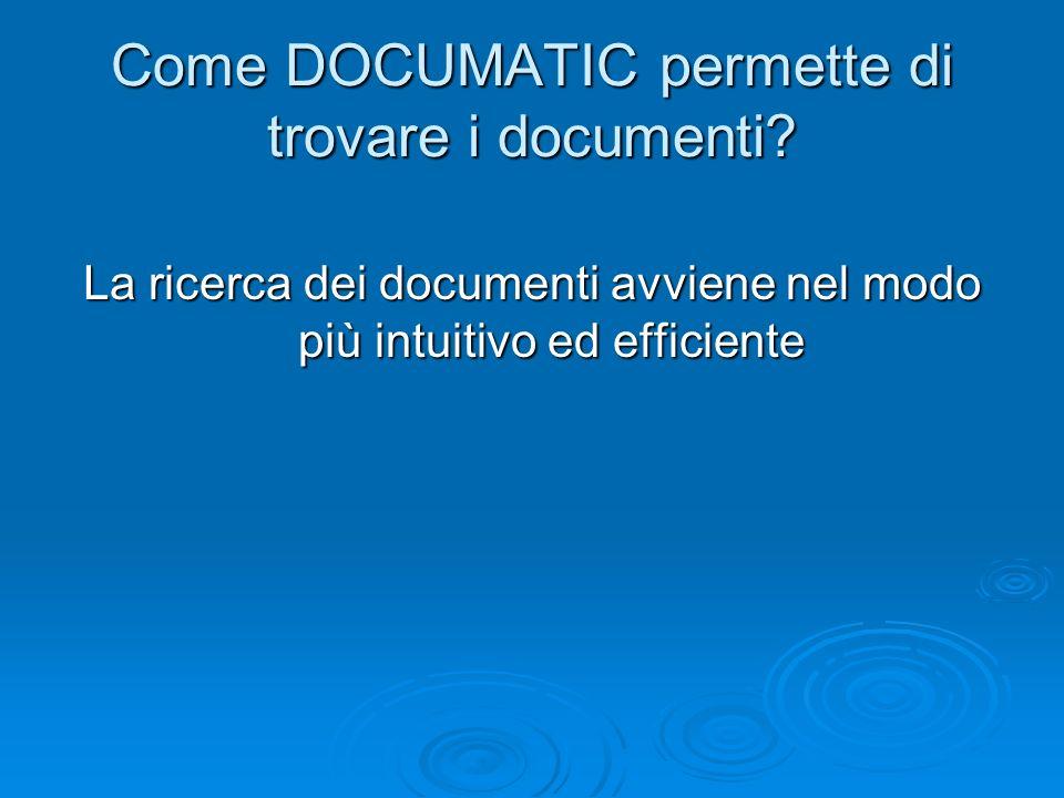 Come DOCUMATIC permette di trovare i documenti? La ricerca dei documenti avviene nel modo più intuitivo ed efficiente