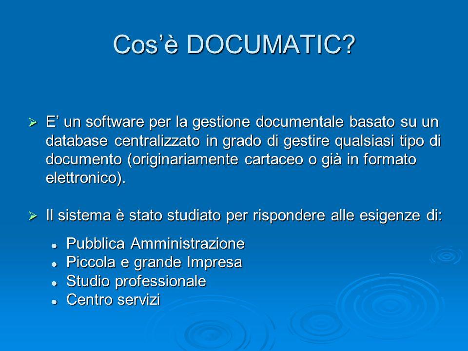 Cosè DOCUMATIC? E un software per la gestione documentale basato su un database centralizzato in grado di gestire qualsiasi tipo di documento (origina