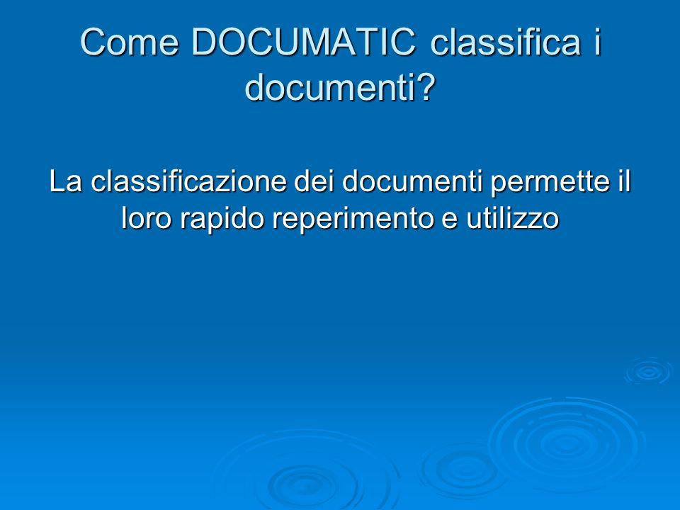 Come DOCUMATIC classifica i documenti? La classificazione dei documenti permette il loro rapido reperimento e utilizzo