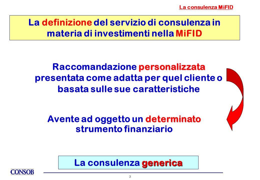 3 MiFI La consulenza MiFID La definizione del servizio di consulenza in materia di investimenti nella MiFID personalizzata Raccomandazione personalizz