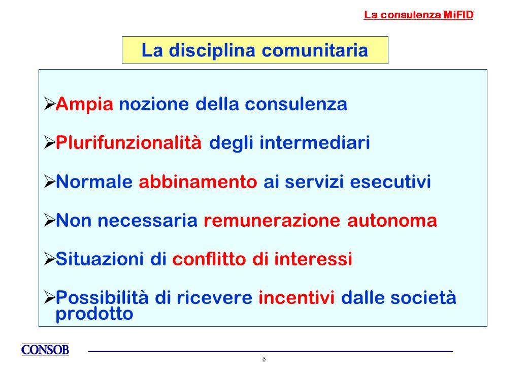 6 Ampia nozione della consulenza Plurifunzionalità degli intermediari Normale abbinamento ai servizi esecutivi Non necessaria remunerazione autonoma S