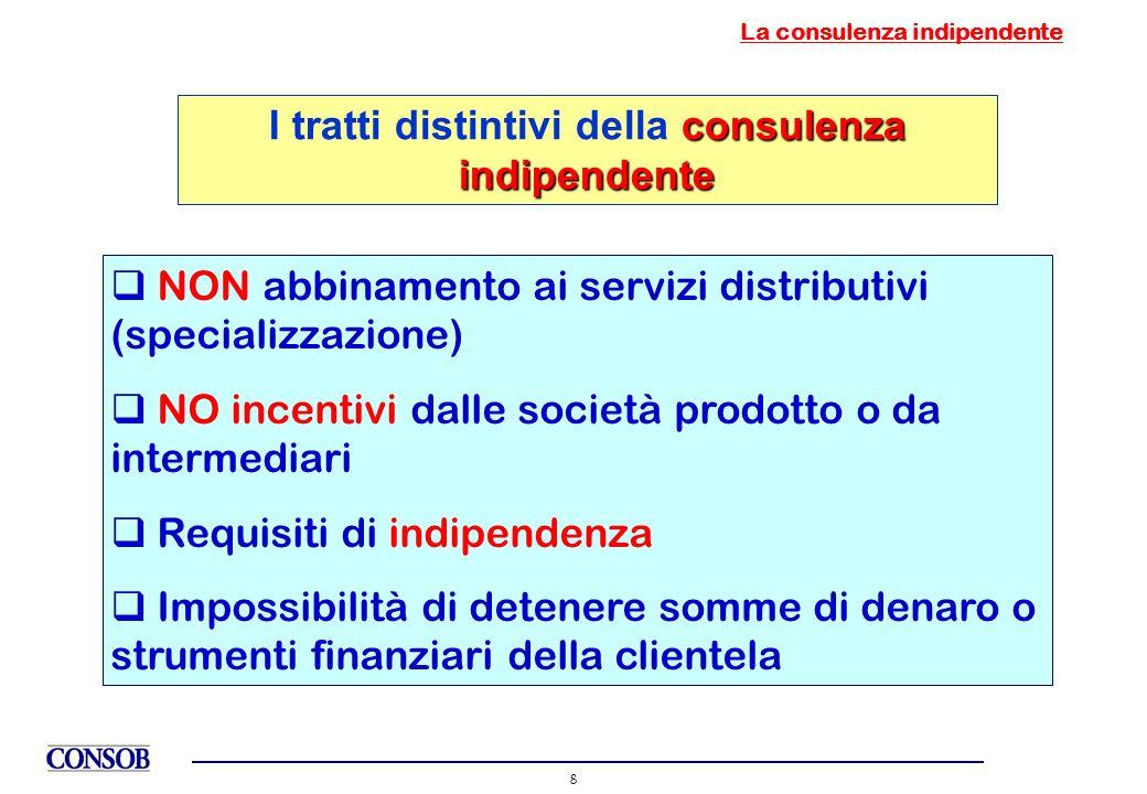 8 La consulenza indipendente NON abbinamento ai servizi distributivi (specializzazione) NO incentivi dalle società prodotto o da intermediari Requisit