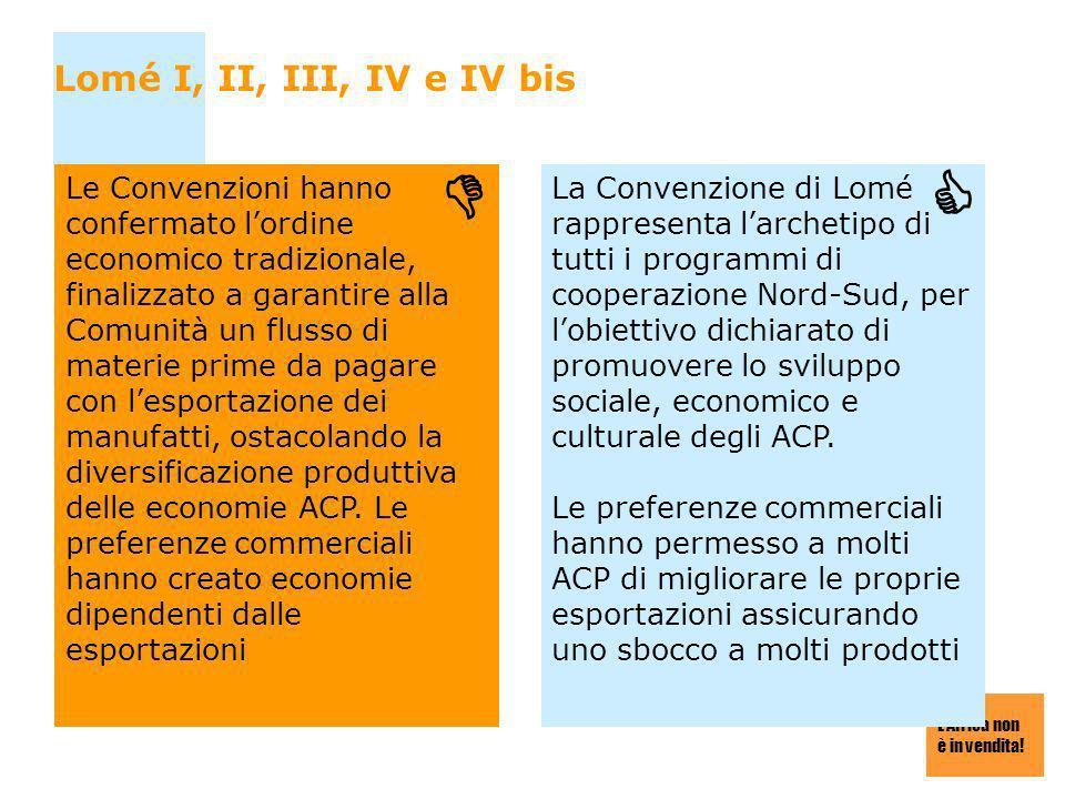 LAfrica non è in vendita! Lomé I, II, III, IV e IV bis Le Convenzioni hanno confermato lordine economico tradizionale, finalizzato a garantire alla Co