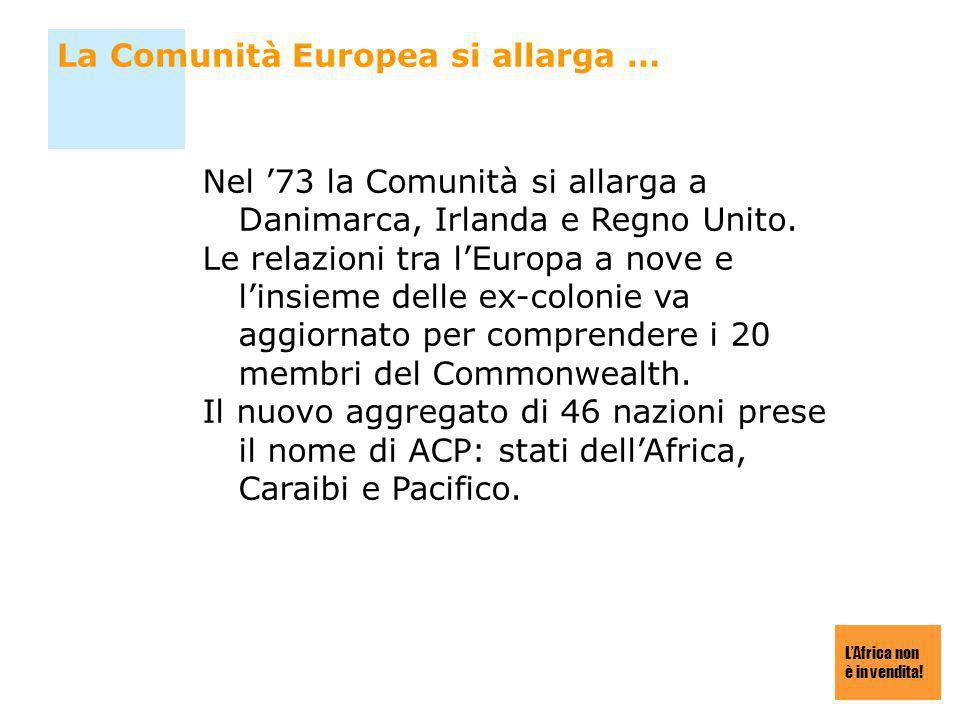 LAfrica non è in vendita! La Comunità Europea si allarga … Nel 73 la Comunità si allarga a Danimarca, Irlanda e Regno Unito. Le relazioni tra lEuropa
