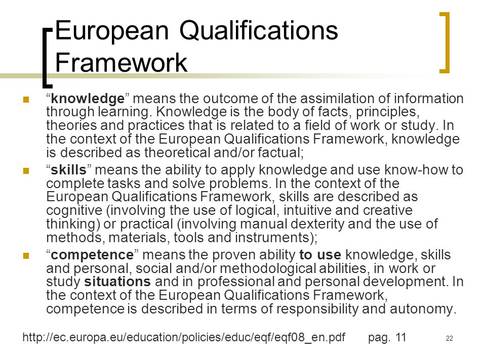 22 European Qualifications Framework knowledge means the outcome of the assimilation of information through learning. Knowledge is the body of facts,