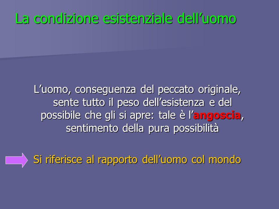 La condizione esistenziale delluomo Luomo, conseguenza del peccato originale, sente tutto il peso dellesistenza e del possibile che gli si apre: tale
