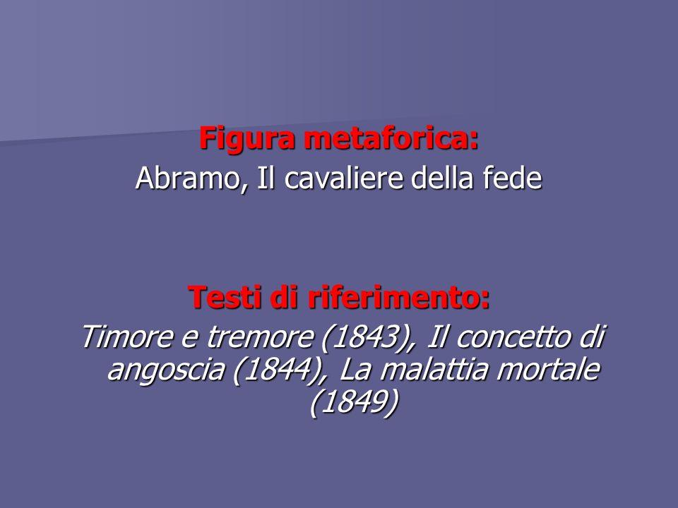 Figura metaforica: Abramo, Il cavaliere della fede Testi di riferimento: Timore e tremore (1843), Il concetto di angoscia (1844), La malattia mortale