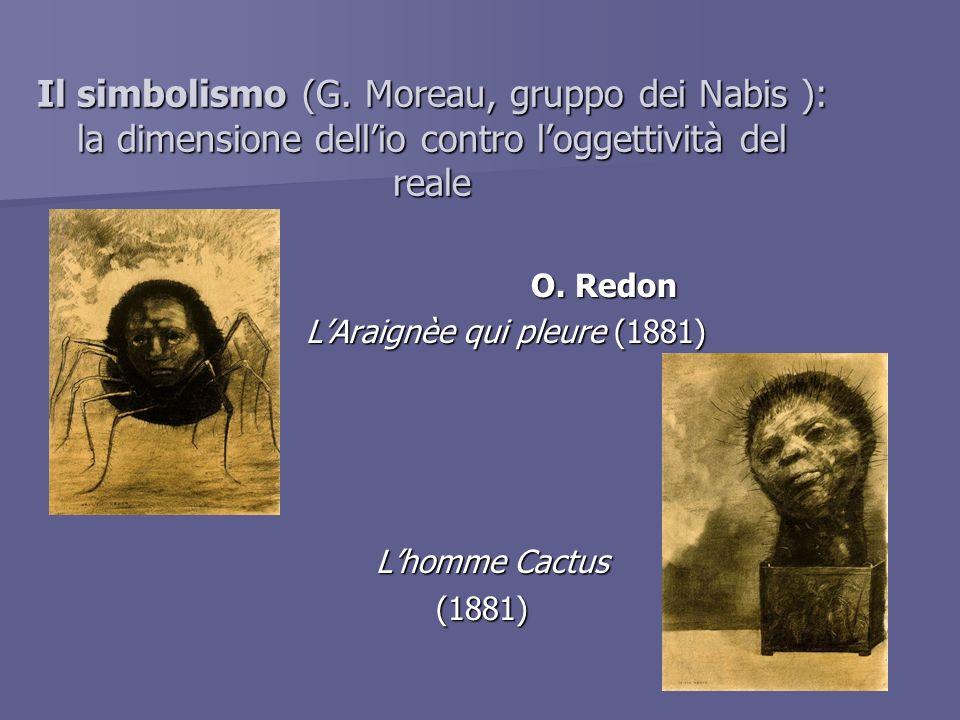 Il simbolismo (G. Moreau, gruppo dei Nabis ): la dimensione dellio contro loggettività del reale O. Redon LAraignèe qui pleure (1881) Lhomme Cactus Lh
