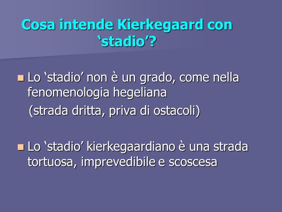 Cosa intende Kierkegaard con stadio? Lo stadio non è un grado, come nella fenomenologia hegeliana Lo stadio non è un grado, come nella fenomenologia h