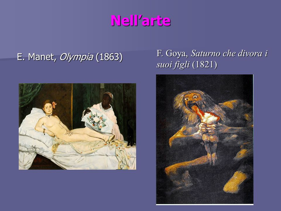 Nellarte E. Manet, Olympia (1863) F. Goya, Saturno che divora i suoi figli (1821)