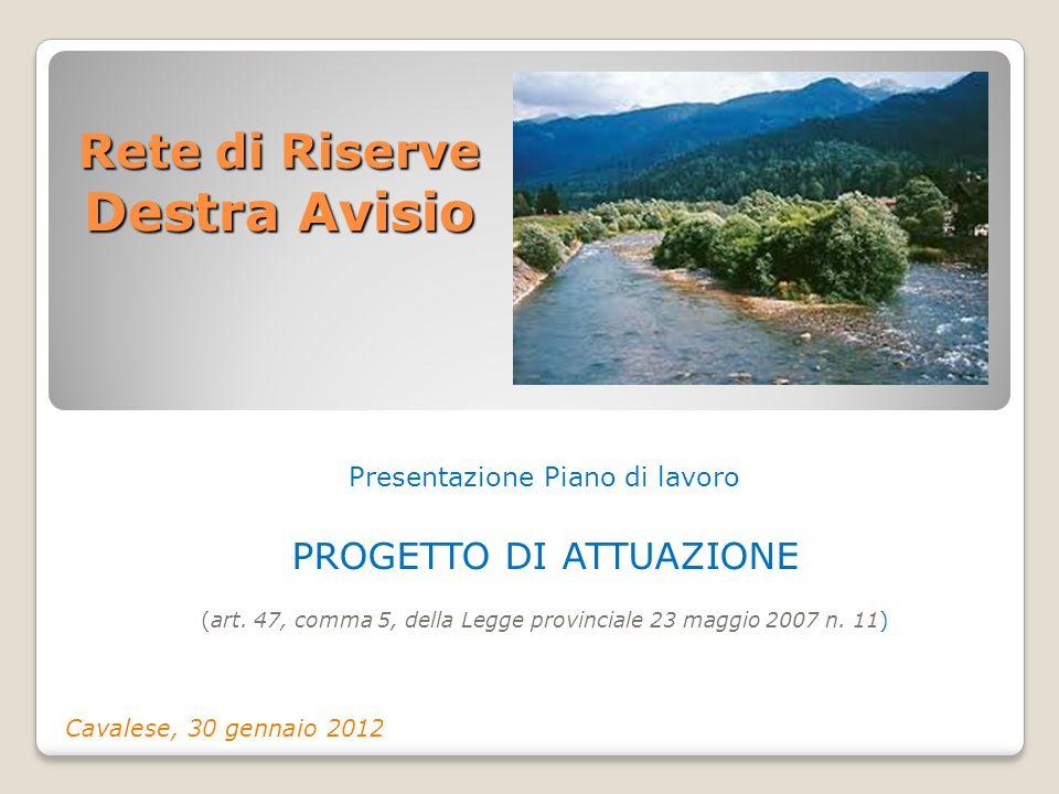 Rete di Riserve Destra Avisio Presentazione Piano di lavoro PROGETTO DI ATTUAZIONE (art. 47, comma 5, della Legge provinciale 23 maggio 2007 n. 11) Ca