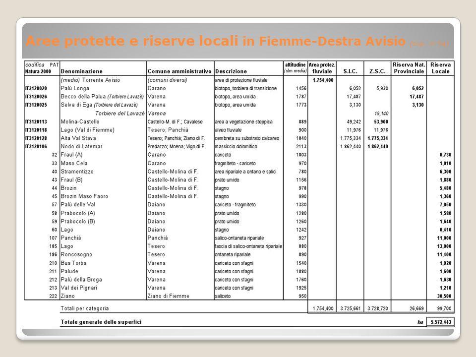Aree protette e riserve locali in Fiemme-Destra Avisio (sup. in ha)