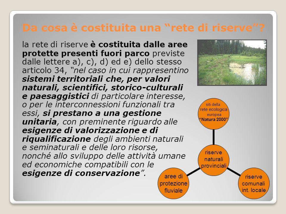 Da cosa è costituita una rete di riserve? riserve naturali provinciali siti della rete ecologica europea Natura 2000 riserve comunali int. locale aree